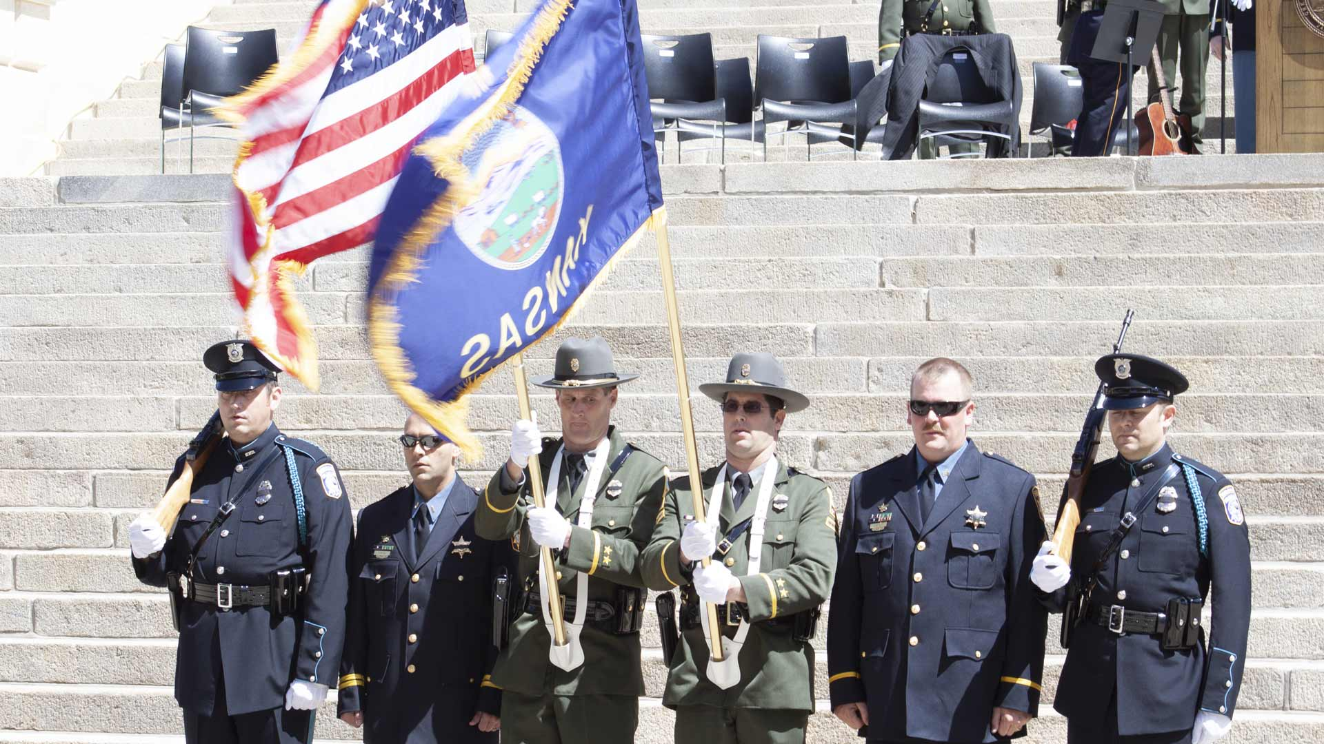 Officers and flags Layer-28